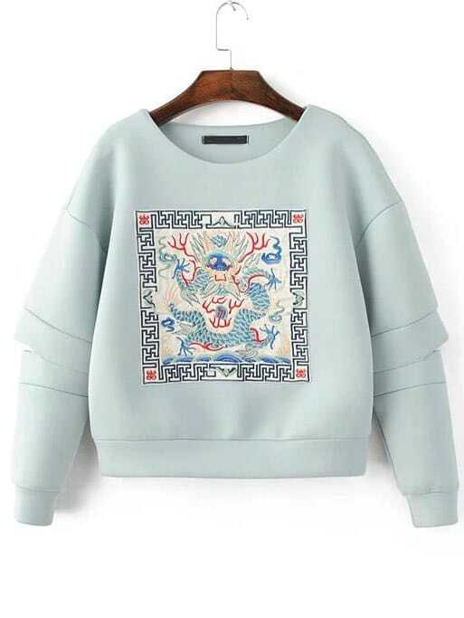Buy Light Blue Embroidered Drop Shoulder Cut Sweatshirt