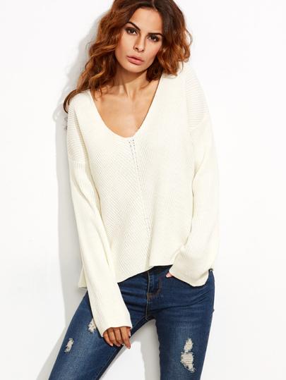 White V Neck Chevron Knit Dolman Sleeve Sweater