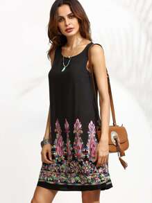 Black Tribal Embroidery Scoop Neck Tank Dress