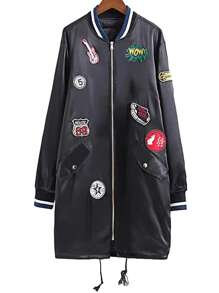 Embroidered Patch Stripe Trim Long Drawstring Flight Jacket