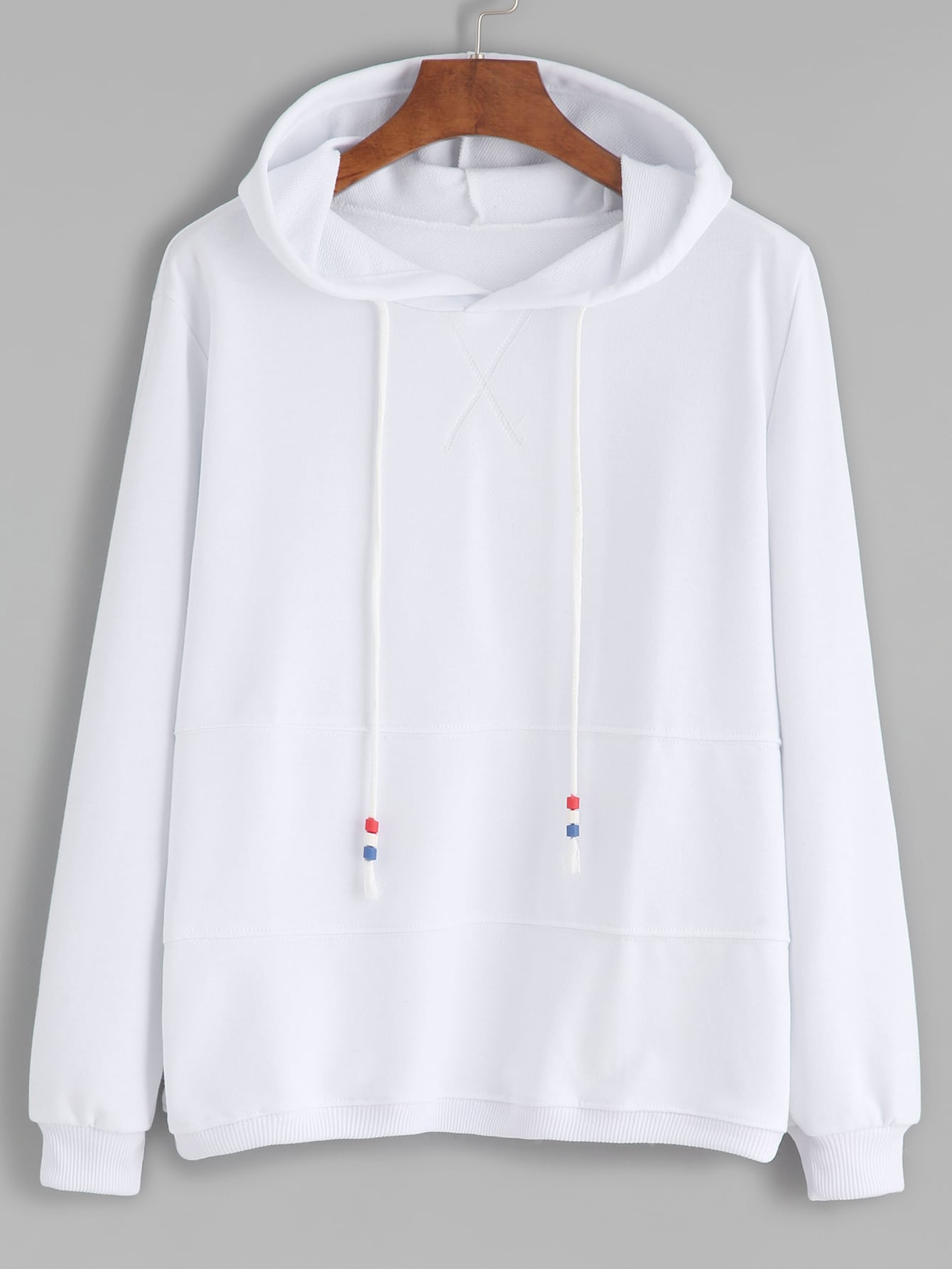 White Contrast Drawstring Hooded SweatshirtWhite Contrast Drawstring Hooded Sweatshirt<br><br>color: White<br>size: one-size