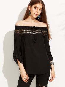 Black Lace Insert Roll Tab Sleeve Off The Shoulder Top