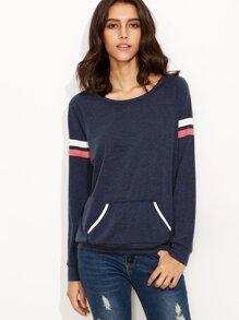 Sweat-shirt manche à rayure avec poche - bleu marine