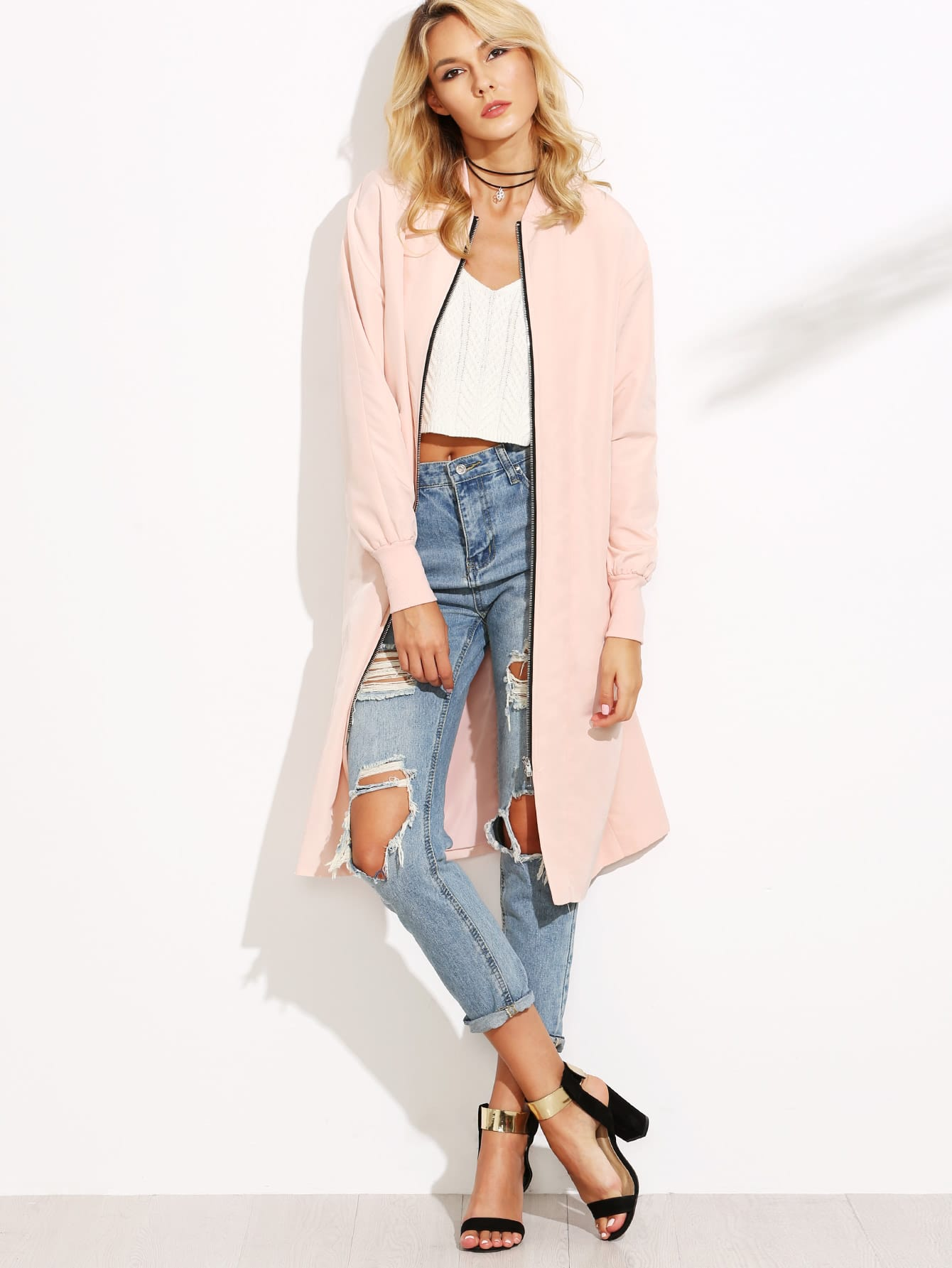 Pink Ribbed Trim Zip Up Satin Bomber Coat outer160824501