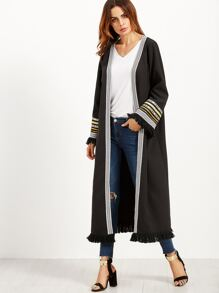 Black Fringe Trim Long Kimono With Embroidered Tape Detail