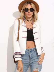 White Applique Band collar Long Sleeve Jacket