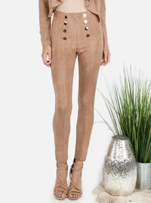 Suede Embellished Button Skinny Pants COCOA