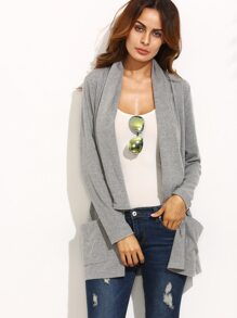 Grey Lapel Pocket Long Sleeve Outerwear