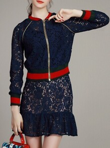 Navy Zipper Jacket Top With Lace Skirt