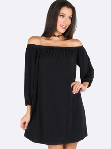 Open Shoulder Sleeved Flow Dress BLACK