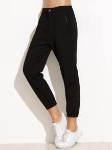Black Elastic Waist Pocket Sports Pants