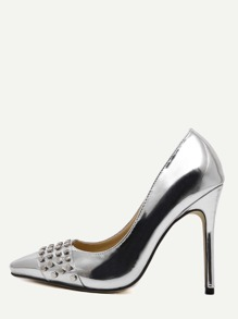Silver Patent Leather Pointed Toe Studded Pumps