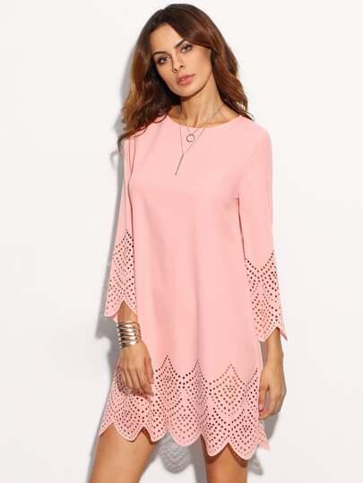 Pink Hollow Hem Three Quarter Sleeve Shift Dress
