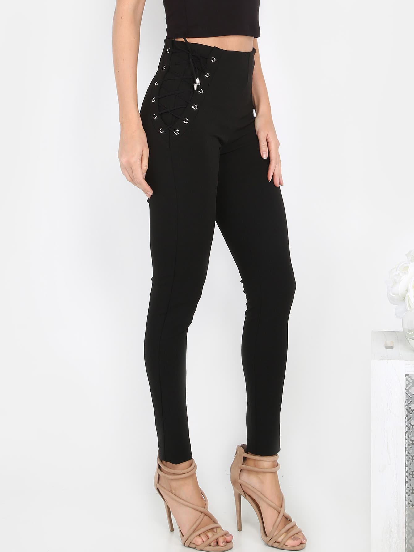 Lace Up Tapered Slack Pants BLACK