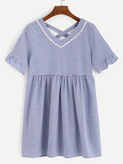 Blue Striped Criss Cross Lace Trim Dress