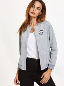 Grey Alien Patch Baseball Jacket