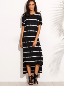 Black Tie Dye Stripe High Low T-shirt Dress