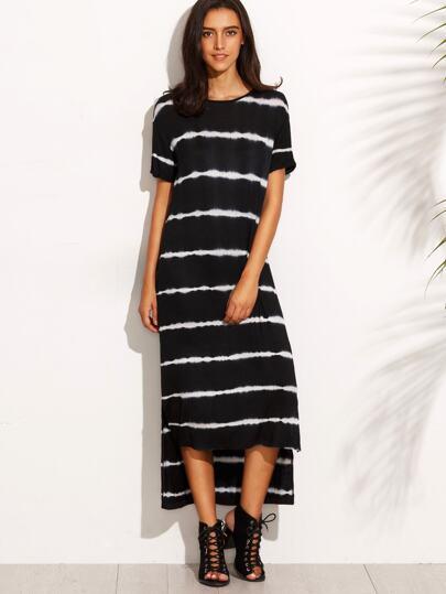 Black Tie Dye Stripe High Low T-shirt Dress