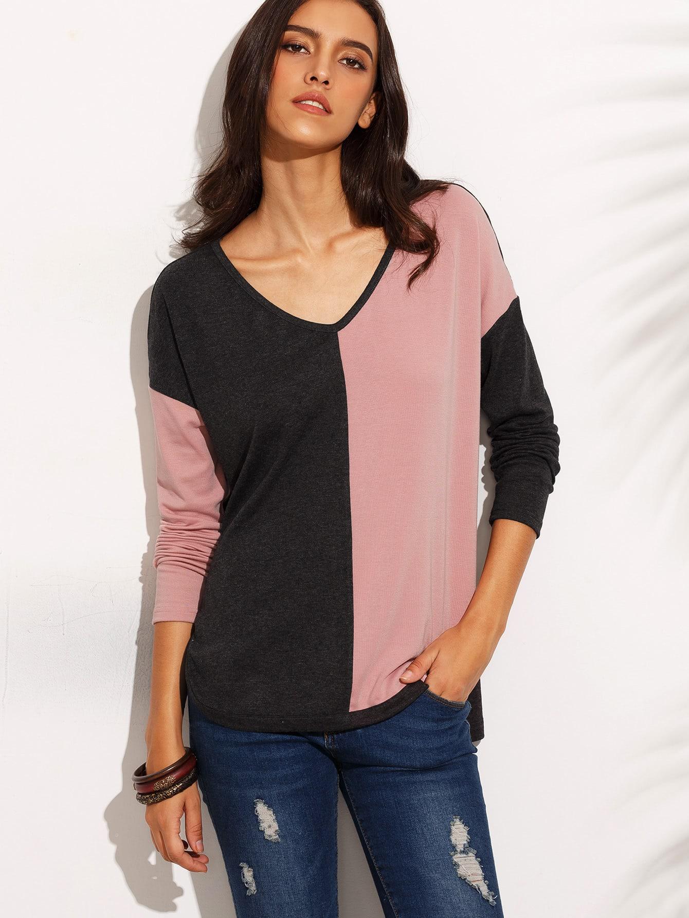 Фото Color Block Drop Shoulder High Low T-shirt. Купить с доставкой