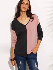 Camiseta hombro drapeado asimétrica - color combinado