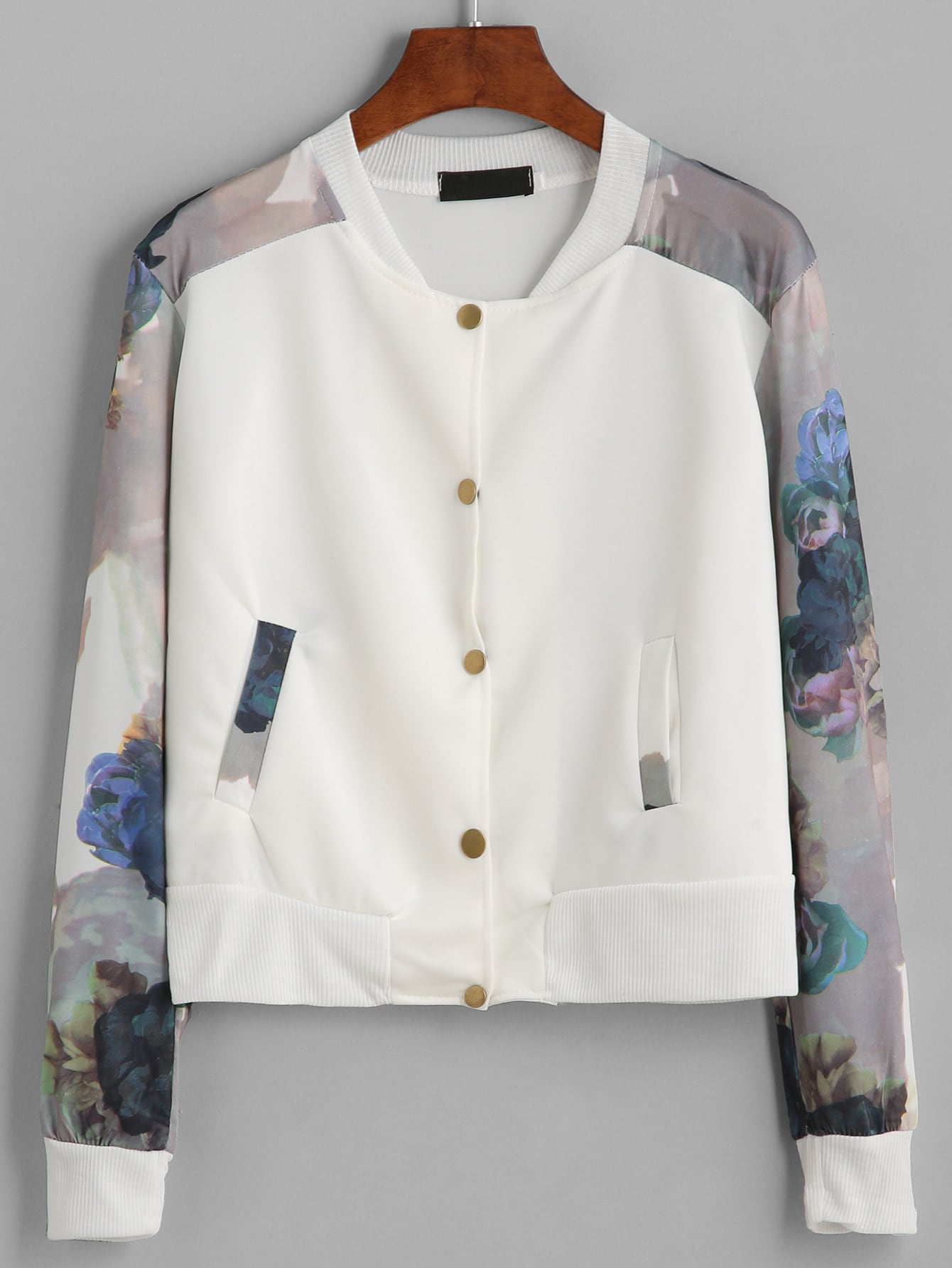 Купить со скидкой White Flower Print Contrast Sleeve Jacket