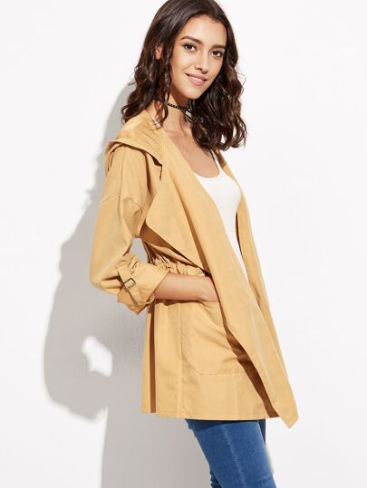 Mustard Yellow Drawstring Pockets Hooded Coat