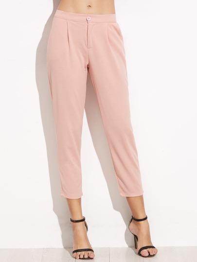 Pantalons élastiques avec poche - rose