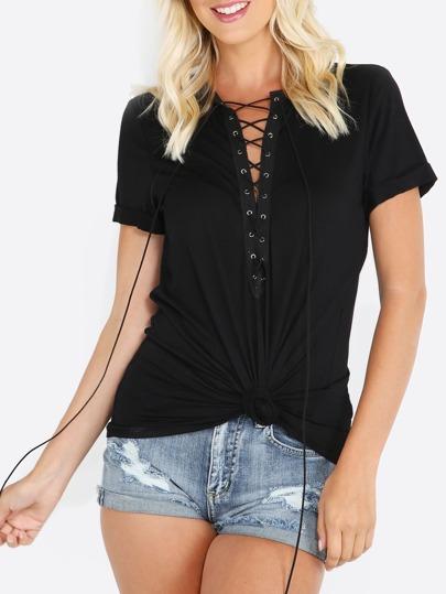 T-shirt manche courte lacé sur le devant - noir
