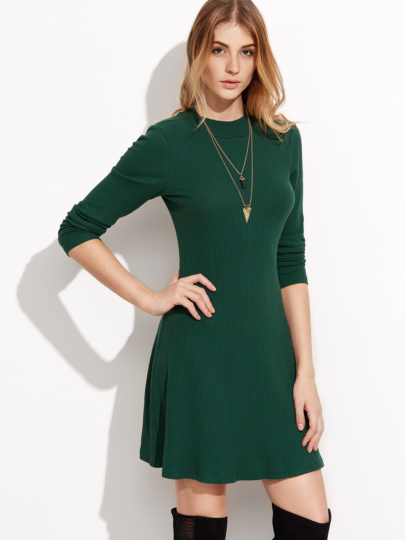 Green Long Sleeve Ribbed Skater Dress dress160830708