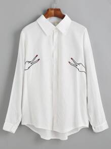 White High Low Embroidered Shirt