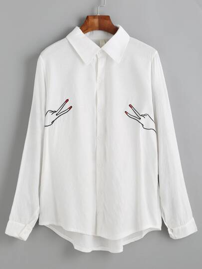 Dip Hem Button Up Embroidered Shirt