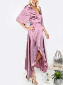 Light Purple Short Sleeve Long Dress