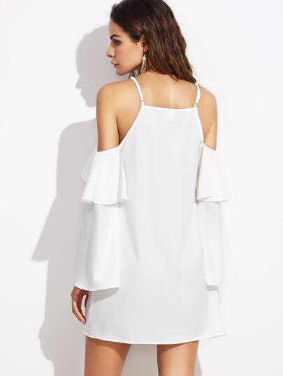Flounced Cold Shoulder Dress