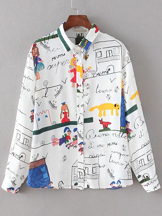 White Cartoon Print Buttons Front Blouse blouse160810201