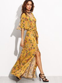 Yellow Print Split Side Maxi Dress
