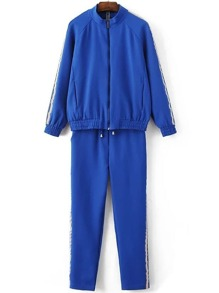 Blue Striped Zipper Jacket With Drawstring Pants