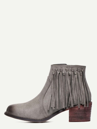 Grey PU Tassel Cork Heeled Ankle Boots