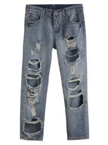 Blue Distressed Boyfriend Ankle Jeans
