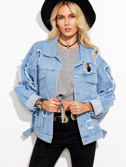 Extreme Destroyed Denim Boyfriend Jacket