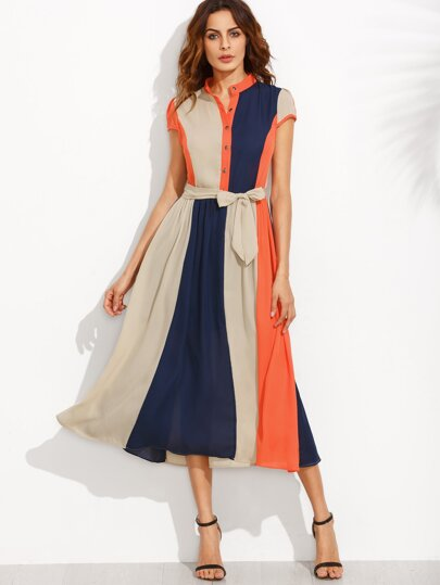 Color Block Bow Tie Waist Buttons Shirtwaist Dress