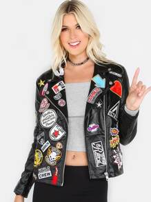 Multi Patch Faux Leather Jacket BLACK