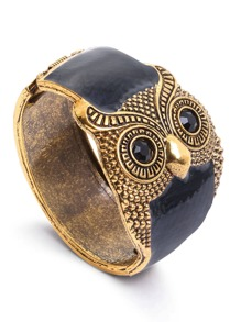 Black Enamel Bronze Metal Retro Owl Wide Bangle