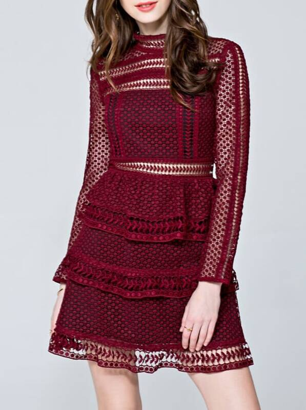 Burgundy Crochet Hollow Out A-Line Dress, null