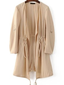 Apricot Draped Collar Drawstring Chiffon Coat