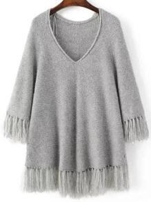 Grey V Neck Fringe Trim Oversized Sweater