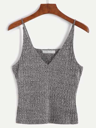 Heather Grey Spaghetti Strap Knit Vest