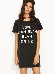 Black Letter Print High Low Tee Dress
