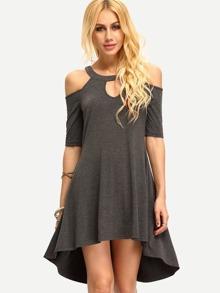 Dark Grey Cold Shoulder Hollow High Low Dress