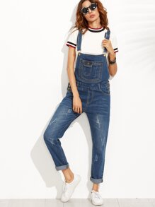 Blue Bleach Wash Cuffed Overall Jeans