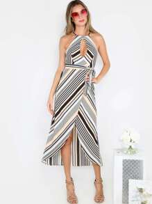 Keyhole Maxi Stripe Dress PEACH MULTI